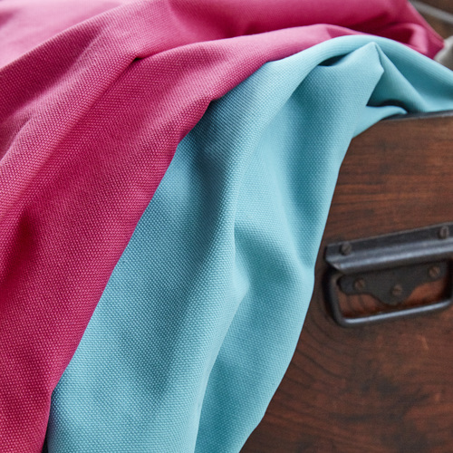 Stitched.co.uk natural fabrics cotton weave fabric in sorbet   aqua %28pink and blue%29 4x5